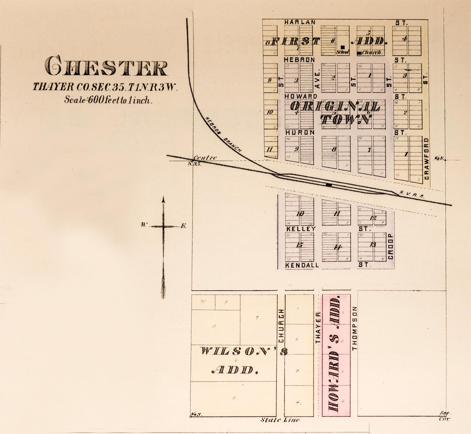 1885 Plat Map of Chester Nebraska Image