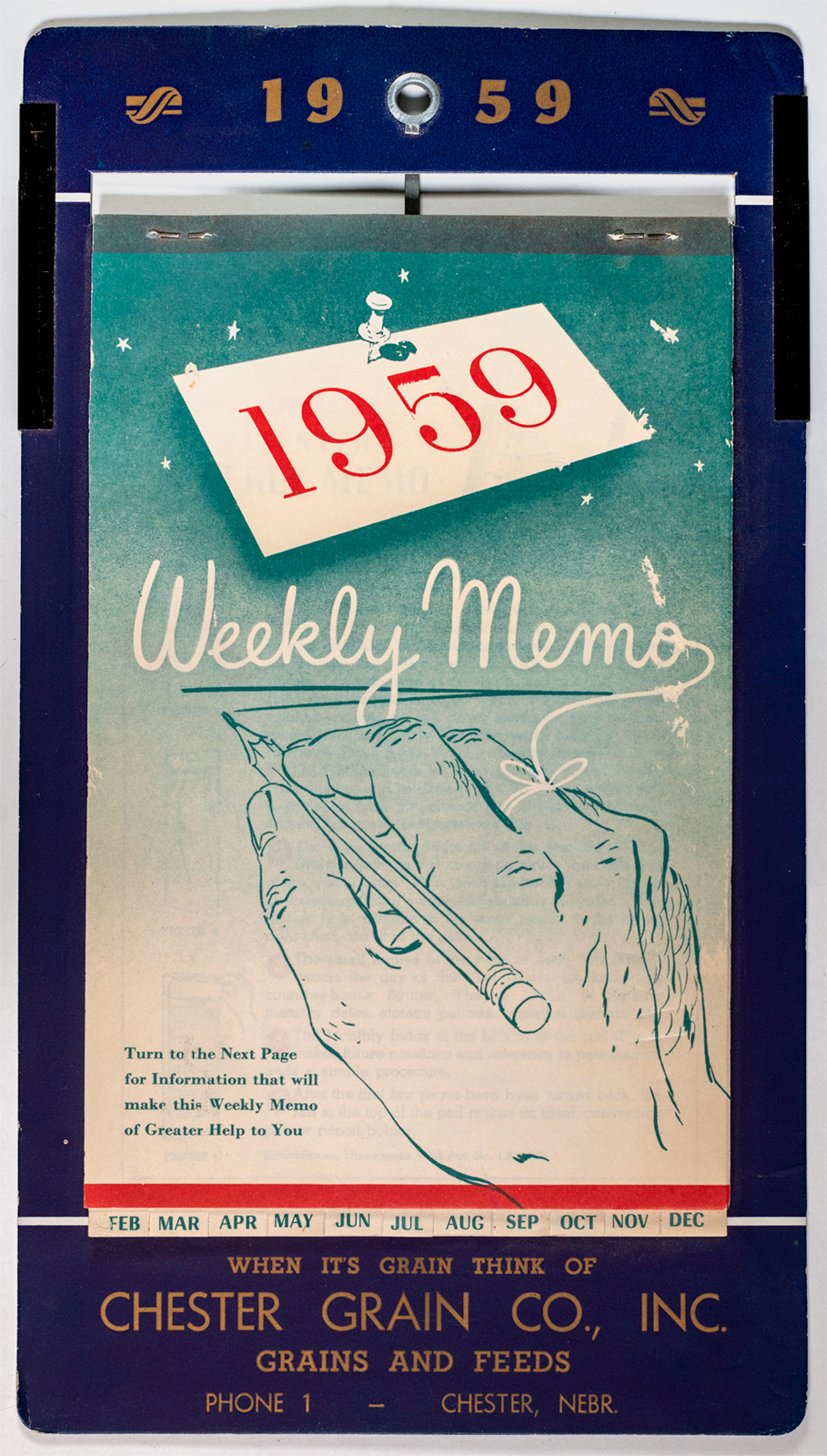 1959 Chester Grain Co Weekly Memo Pad Image