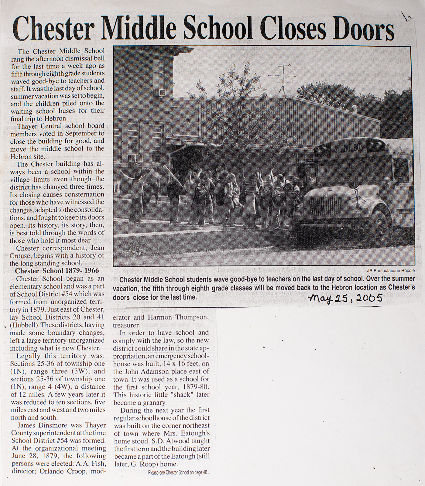 "Newspaper Clipping ""Chester Middle School Closes Doors"" Image"