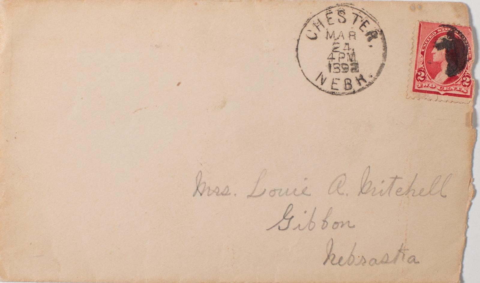 Old letter envelope mailed from Chester Nebraska 1892 Image