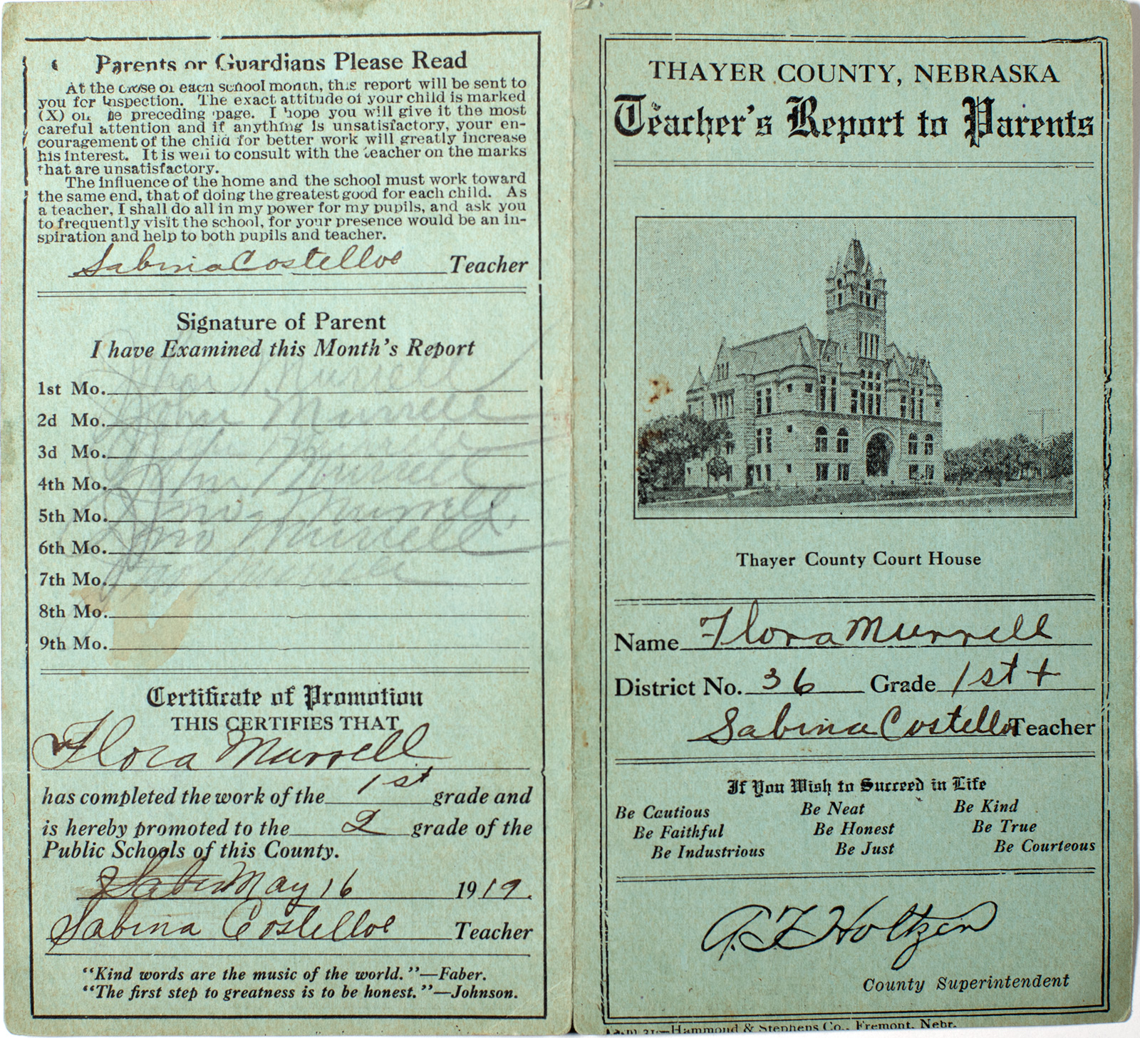 1917 Report Card from Thayer County Nebraska Image