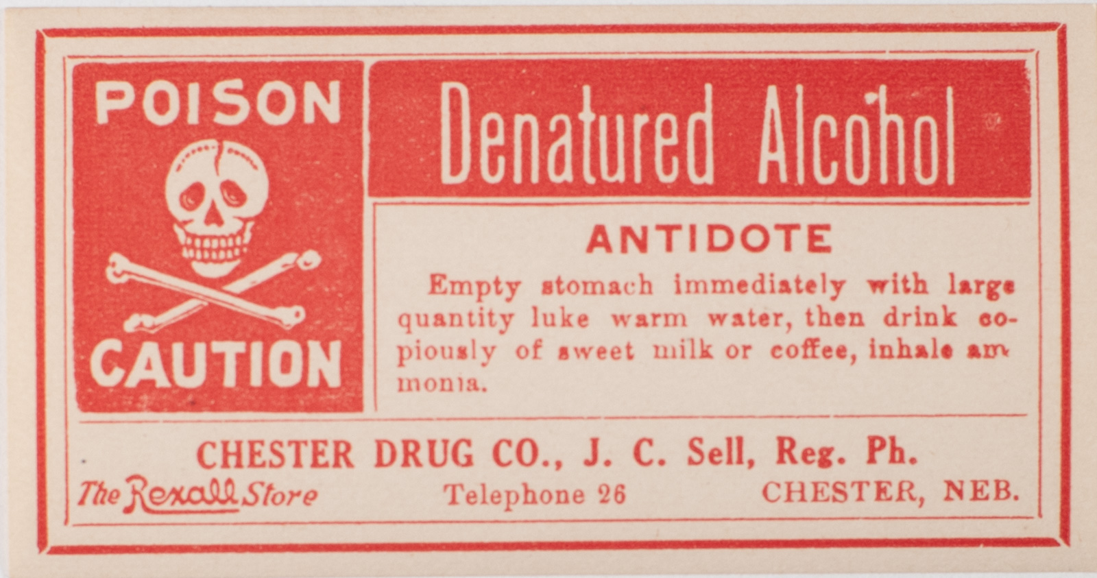 Denatured Alcohol Label from Chester Drug Co Image