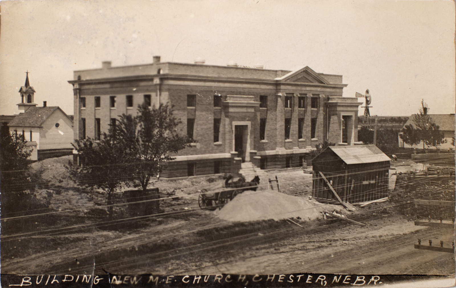 Building the Methodist Church in Chester Nebraska - 1910 Image