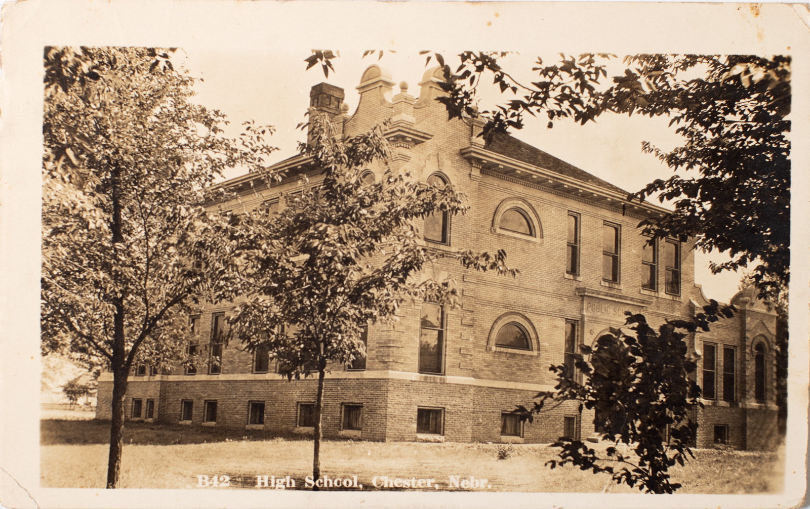 Chester Nebraska School Building 1907 Postcard Image