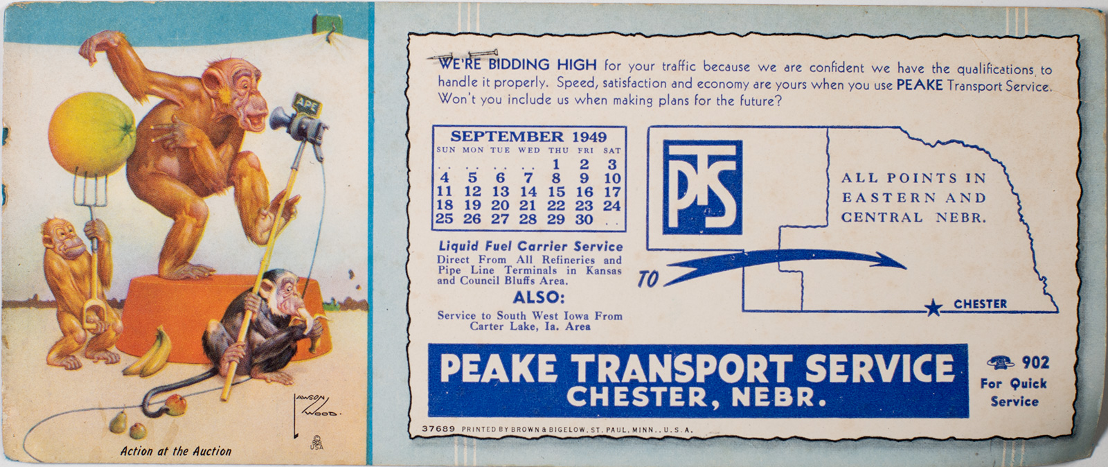 Peake Transport Blotter Pad & Calendar September 1949 Image